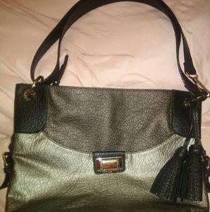 Black & Silver Rosetti Shoulder Bag w Tassels